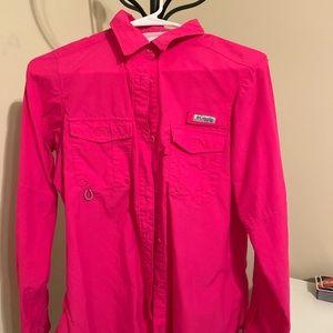Columbia PFG vented button down shirt, S, magenta